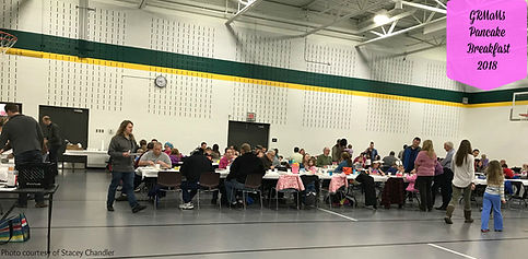 members and families at pancake breakfast