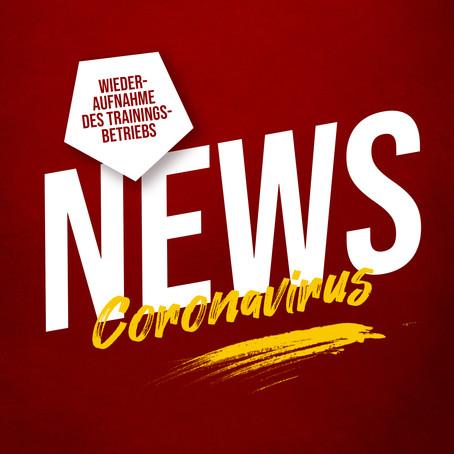 Corona-Schutzkonzept Update: Wiederaufnahme des Trainingsbetriebs