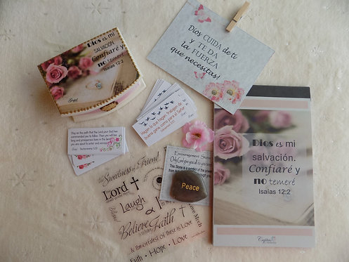 504 Spanish Simple Encouragement Gift Set with stone and stickers, Inspirational