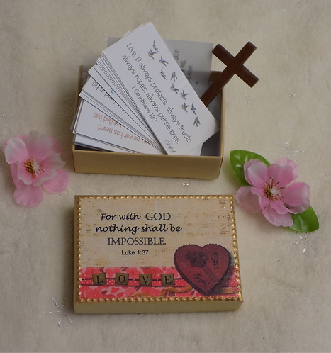 K428 SET 60 Scripture verses Kraft box, Luke 1:37