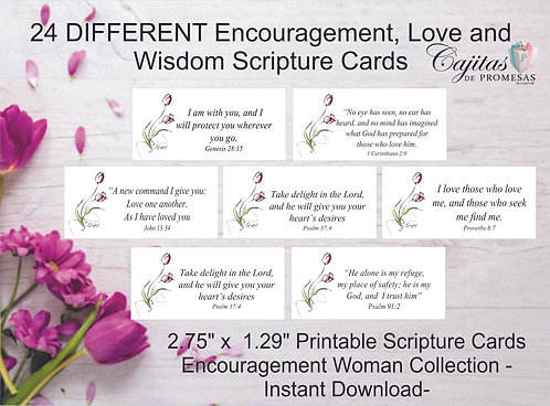 WOMAN COLLECTION #1, SET DE 24 TARJETAS VERSICULOS BIBLICOS DESCARGABLES