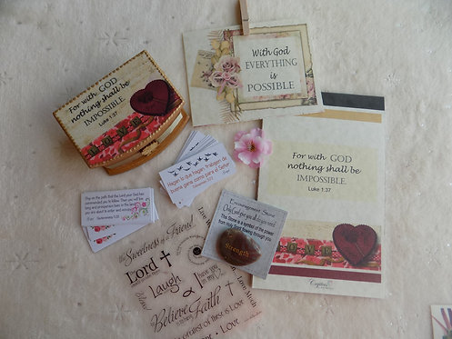 428 Simple Faith Gift SET with STONE and STICKERS / Thinking of You Gift