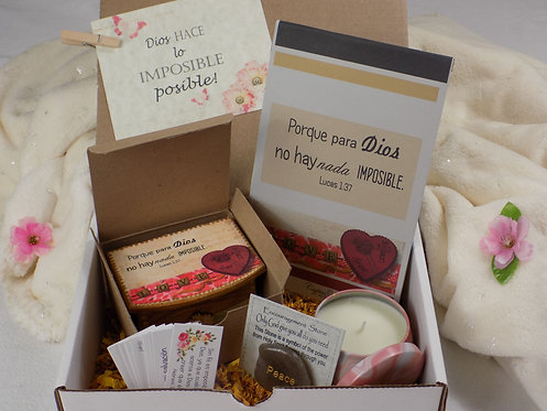 528 Spanish Faith Gift Box, Inspirational and Blessing Gift, Lucas 1:37