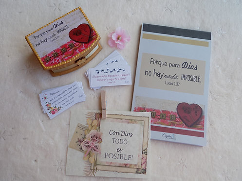 528 SPANISH, Simple Faith Gift SET with notepad/ Thinking of You Gift