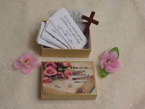 K504 SET 60 Versiculos biblicos Kraft box, Isaias 12:2