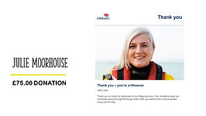 Prize Mob fundraising competitions raise money for the Royal Lifeboat donation 75 Julie Moorhouse