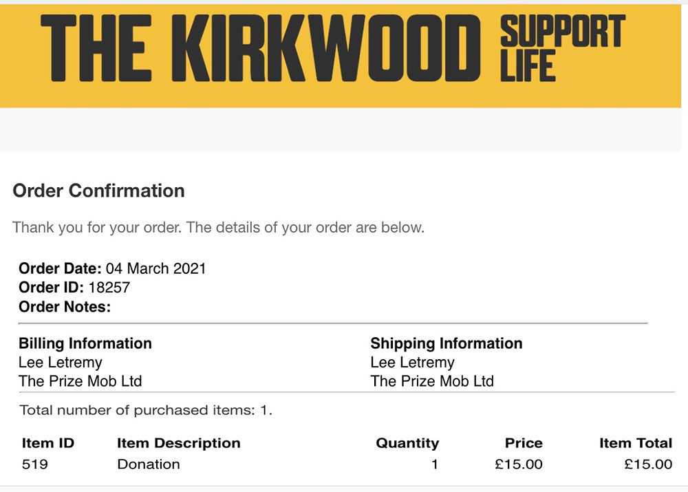 Prize Mob supports Kirkwood Hospice, Huddersfield in our February fundraising competition