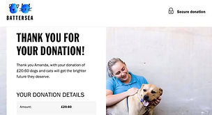 prize mob's Battersea dogs home donation