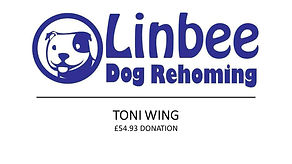 Linbee Dog Rehoming Prize Mob winner Toni Wing £54.93 donation