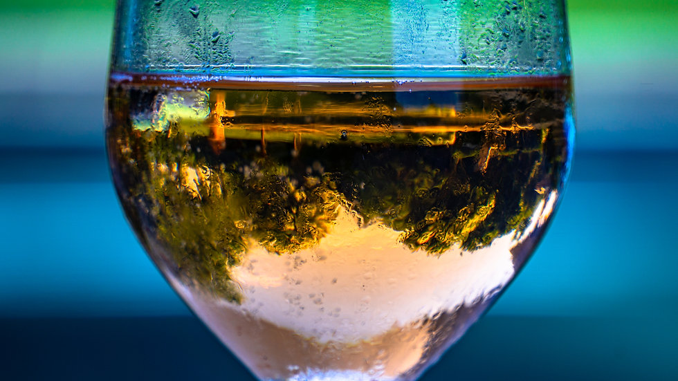 Poolside glass of wine