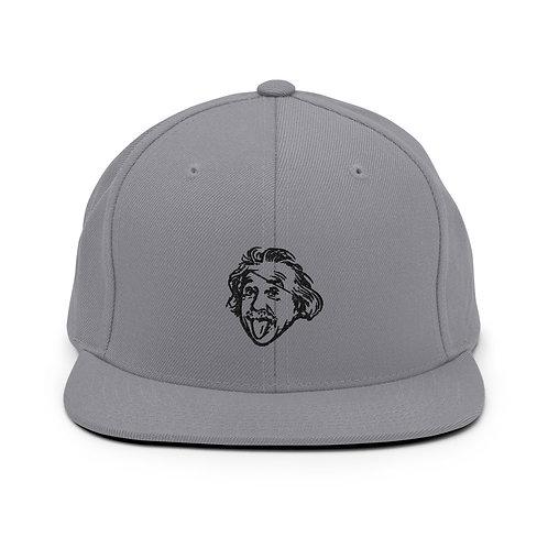 Einstein Head Snapback Hat - Silver