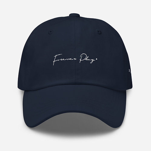 Forever Play Cursive Dad Hat - Navy