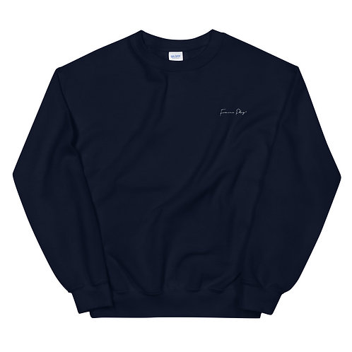 Embroidered Cursive Forever Play Sweatshirt - Navy