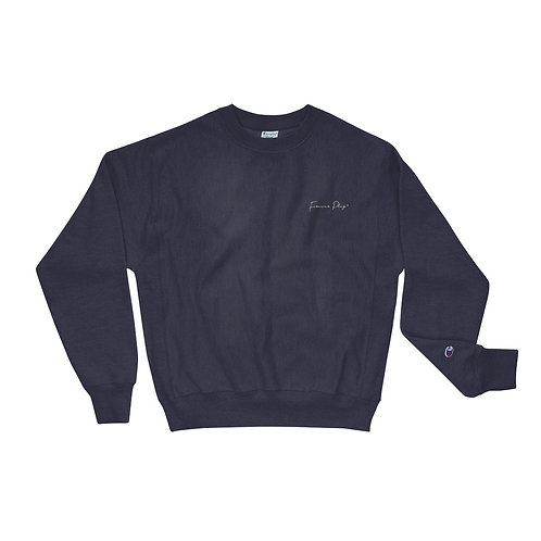 Embroidered Cursive Forever Play Champion Sweatshirt - Navy