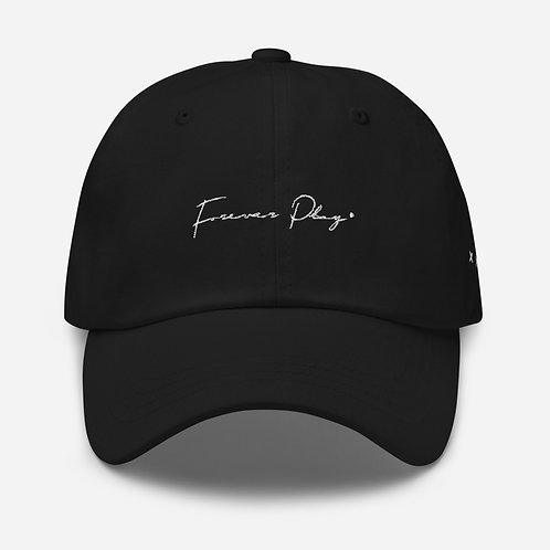 Forever Play Cursive Dad Hat - Black