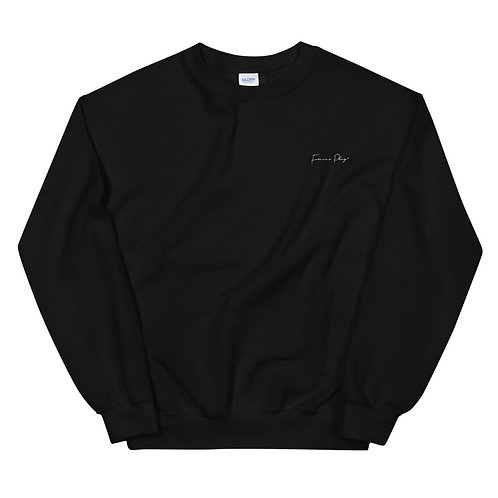 Embroidered Cursive Forever Play Sweatshirt - Black