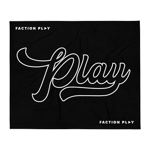 Cursive Play Throw Blanket - Black