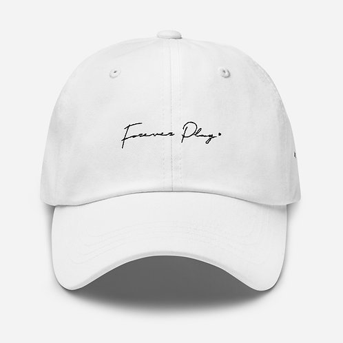 Forever Play Cursive Dad Hat - White