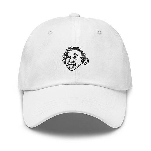 Einstein Head Dad Hat - White
