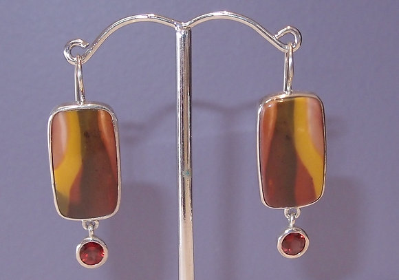 Mookite and garnet earrings