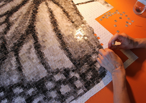 "The work consist of 15088 ""pixels"" and insect pins in total"