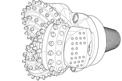 tricone drill bit drawing