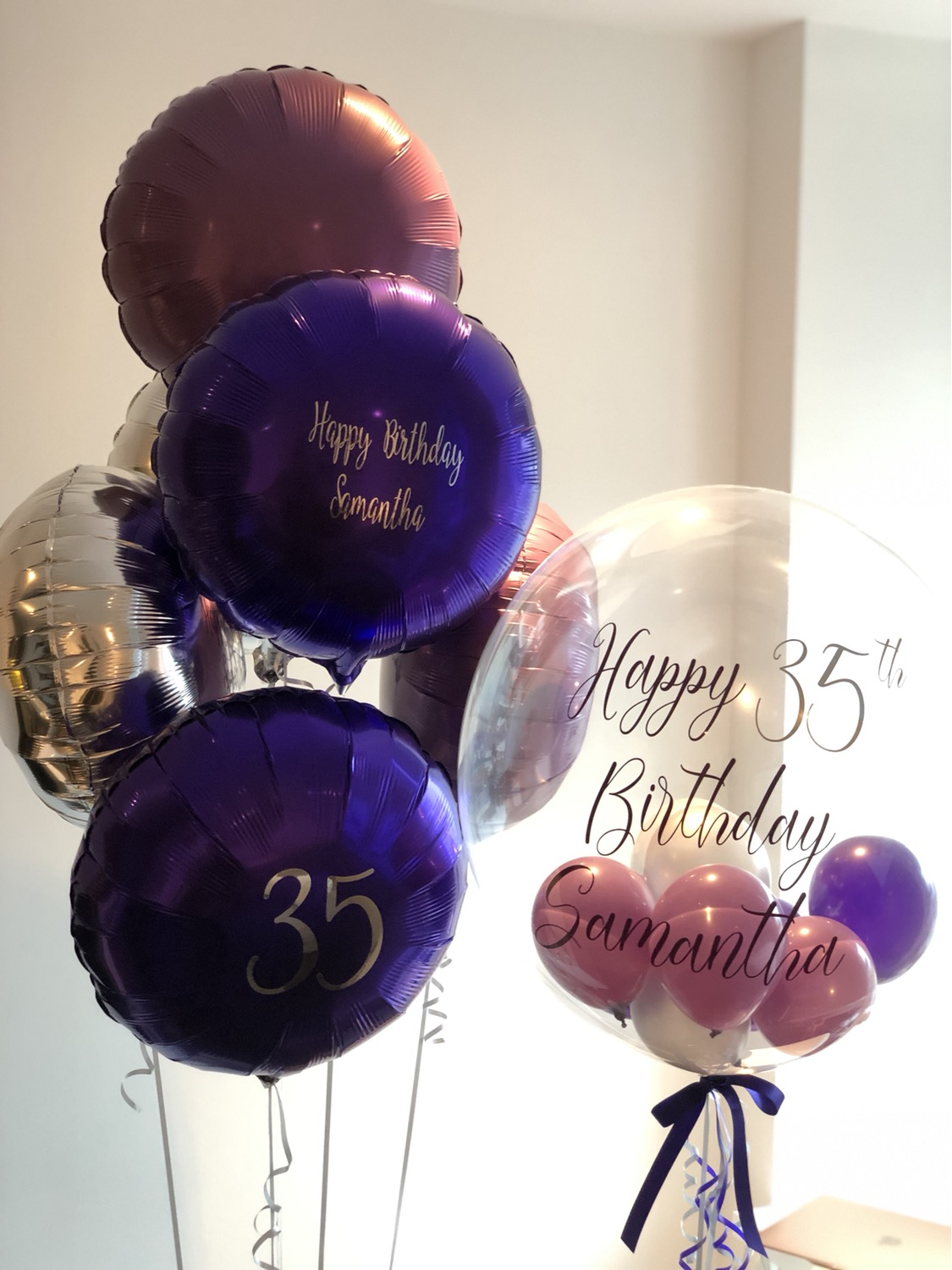 Personalised Silver and Purple Ballooons