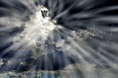 Angel in Sky Clouds with Rays of light s
