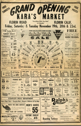 Ad for Kara's Market  in the Elk Grove & Florin Newscast November 1954