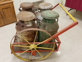 Milk Cans and Cart - Museum Artifact