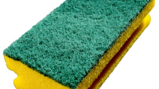 Rengöringssvamp gul/grön 140x70 mm med grepp
