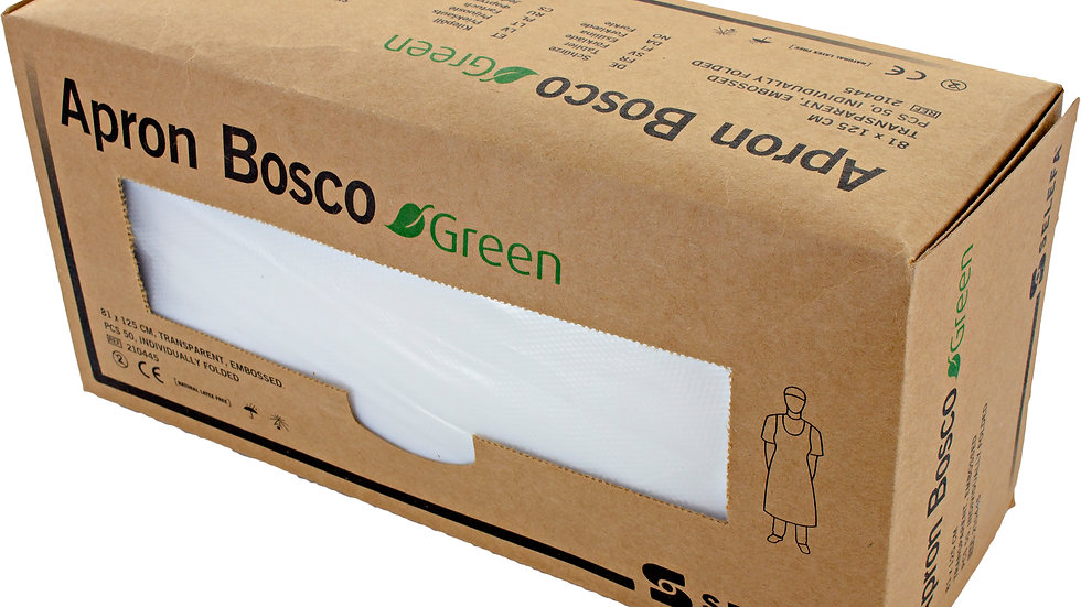 Förkläde engångs 81 x 125 cm, Bosco Green Miljö transp. 50 st i dispenserkartong