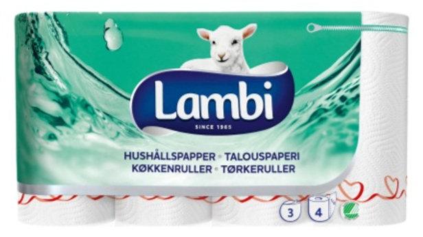Hushållspapper 3-lag vit Lambi dekor 4 rullar/fp 13 m/rulle