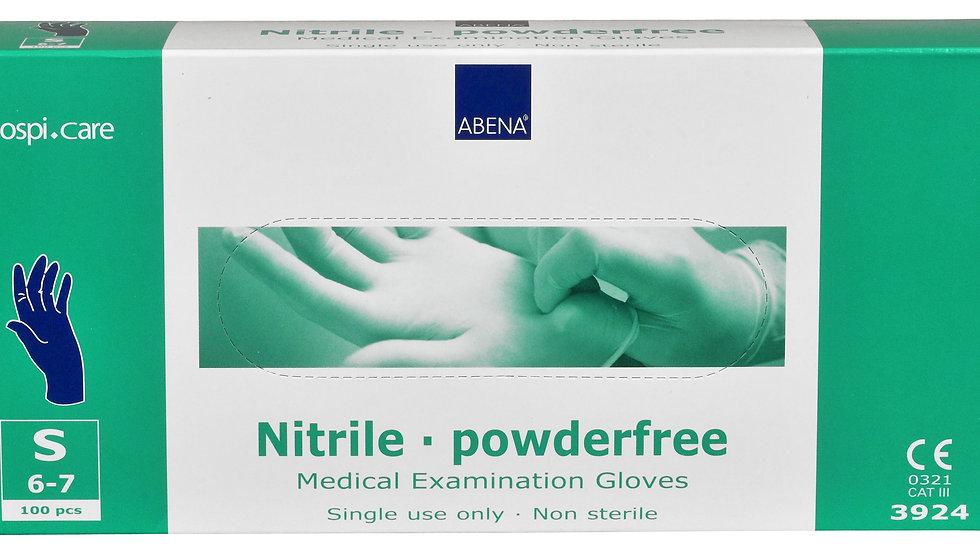 Handskar nitrit puderfria, 30 cm extra långa, blå stl. S 100 st/fp