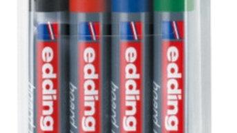 Whiteboardpenna 1,5-3mm snedskuren spets set om 4st i olika färger