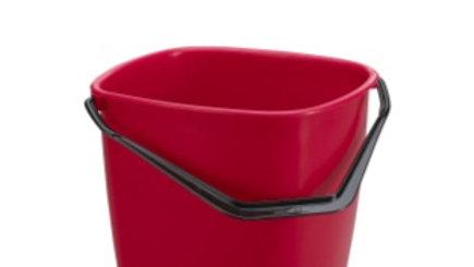 Hink 9,5 l röd fyrkantig med plastgrepp