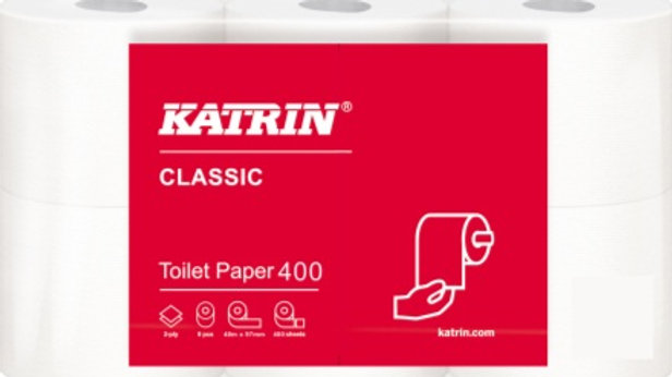 Toalettpapper 2-lag vit Classic Toalett 400 6rllar/fp 48 m