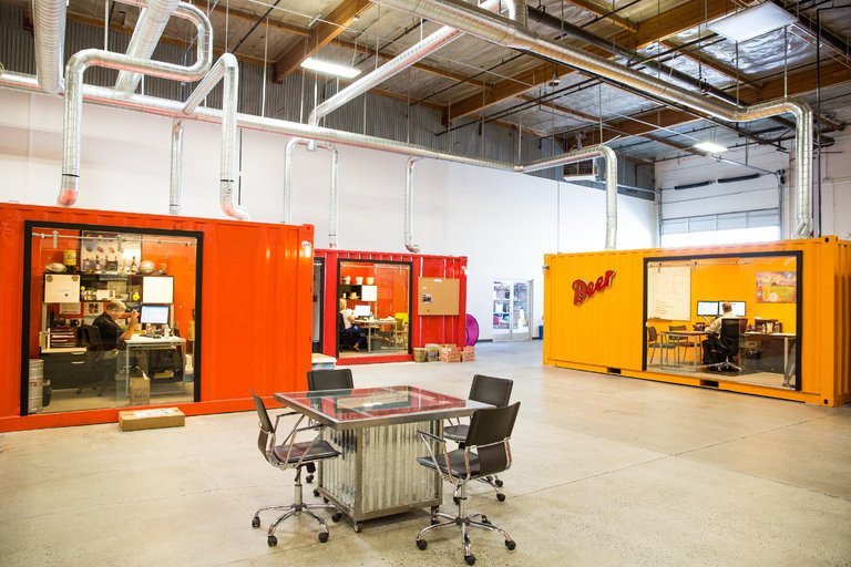 The shipping container offices of New West Distributing are in a warehouse the company leases