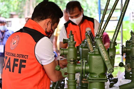First Congressional District Office hands 20 jetmatic pumps to barangay officials of Bago Aplaya