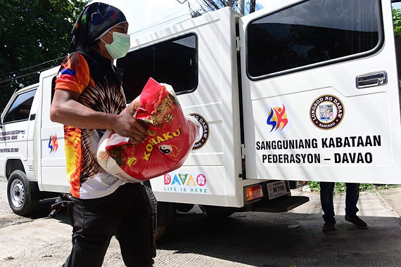 LOOK: First Congressional District Rep. Paolo Z. Duterte on Thursday, June 17, distributed 1,550 sacks of rice and 540 boxes of canned goods to barangay chairmen and councilors in the first district of Davao City.