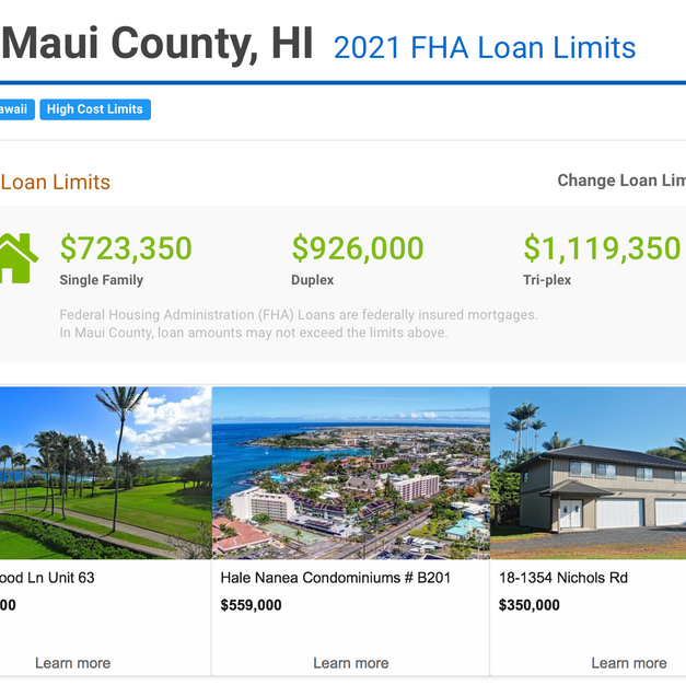 MAUI FHA LOAN LIMITS