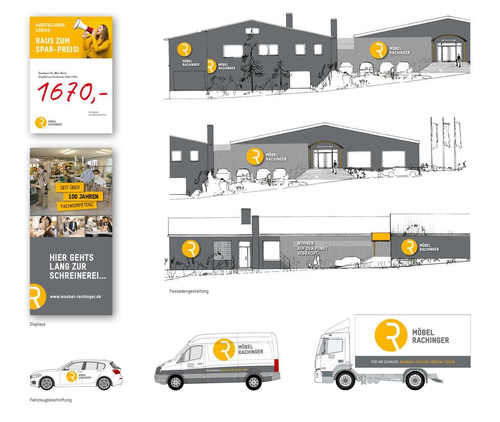 Corporate Design Möbel Rachinger, Solnhofen – Fassade, Fahrzeuge, Displays
