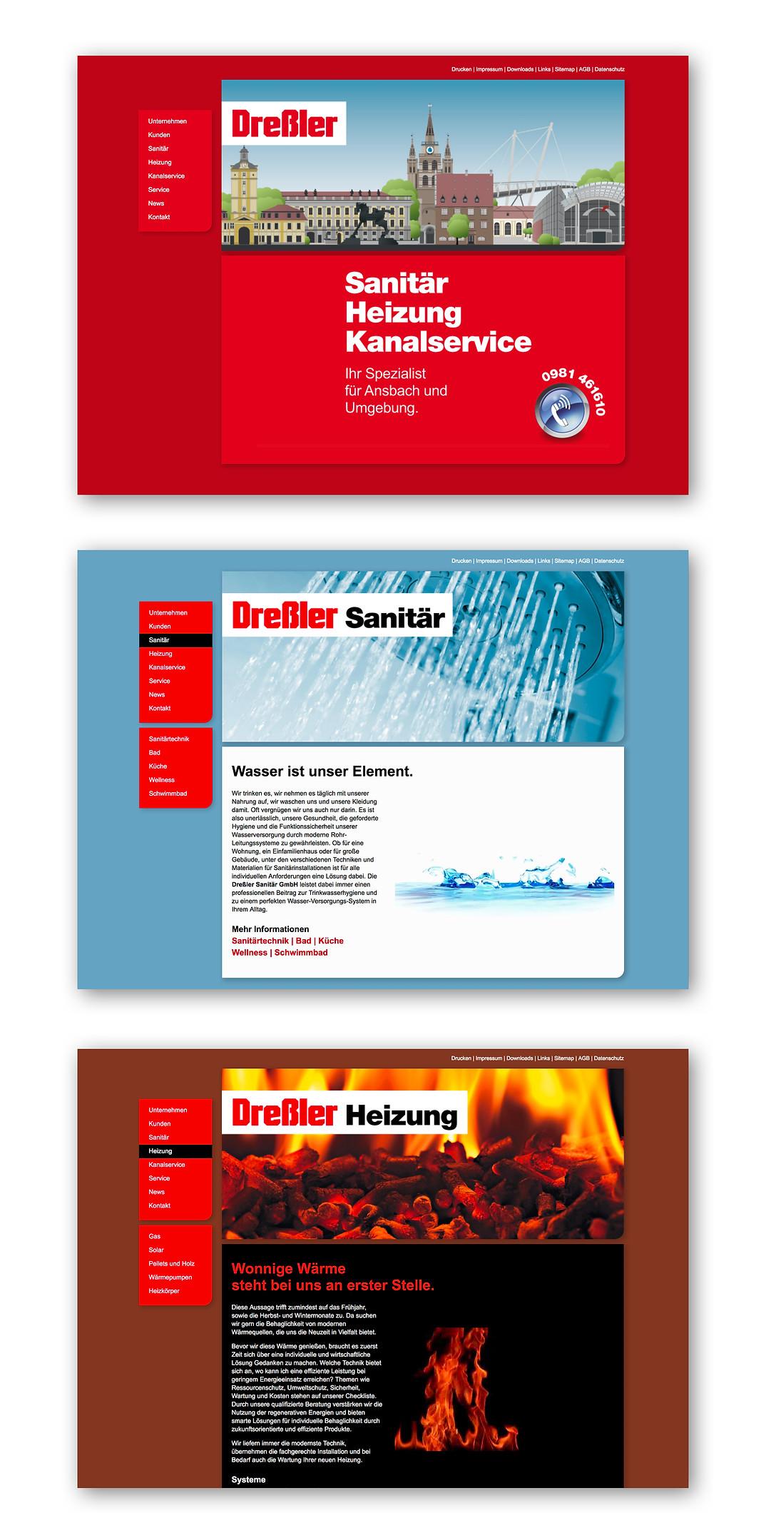 Internetseite für Dreßler Sanitär aus Ansbach