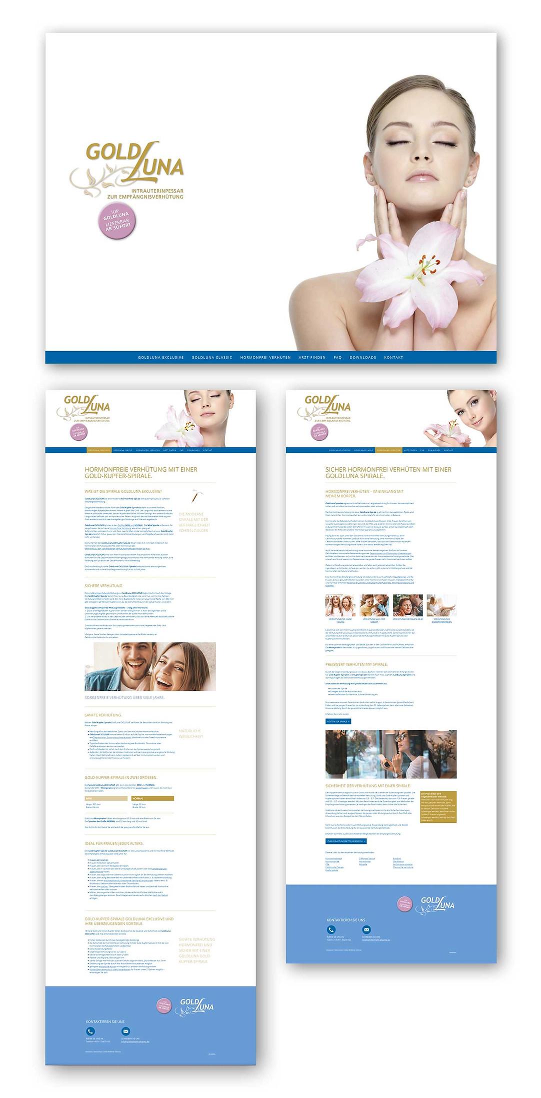 Webseiten IUB Goldluna | Gold-Kupfer-Spirale | Homepage und zwei Seiten der Hauptnavigation