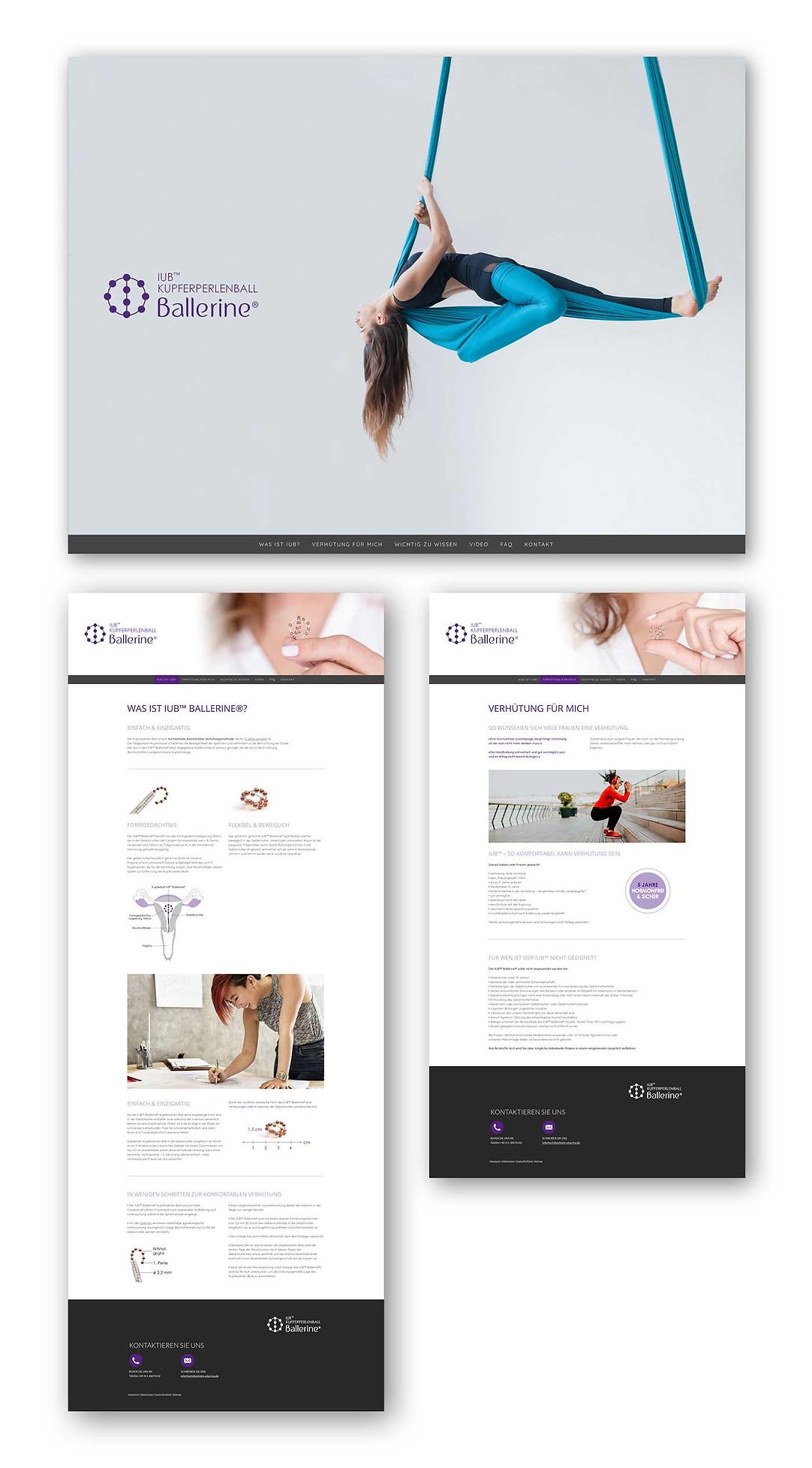 Webseiten IUB Ballerine | Kupferperlenball | Homepage und zwei Seiten der Hauptnavigation