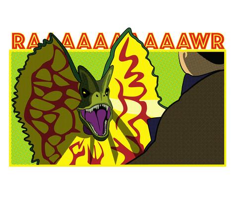JP Retro Comic Art - Dilophosaurus (2018)