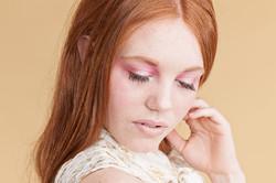 redhead makeup pink