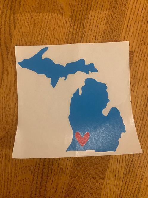 Blue & Red Michigan Sticker