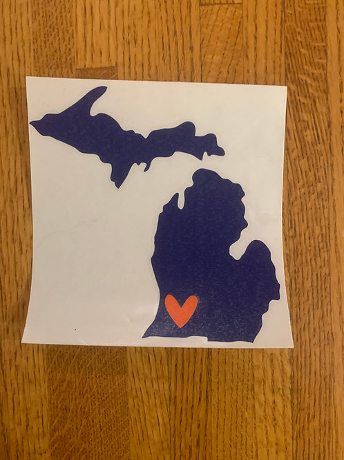 Navy & Orange Michigan Sticker