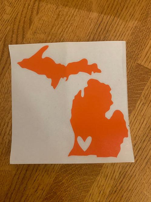 Orange Michigan Sticker